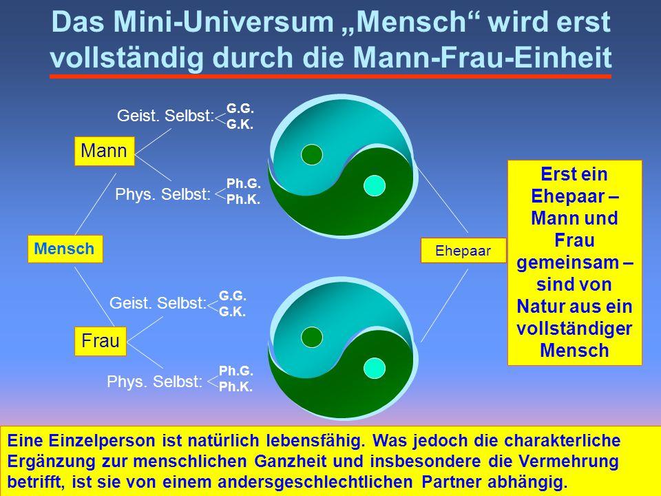 Mann Geist. Selbst: Phys. Selbst: G.G. G.K. Ph.G. Ph.K. Ehepaar Das Mini-Universum Mensch wird erst vollständig durch die Mann-Frau-Einheit Geist. Sel
