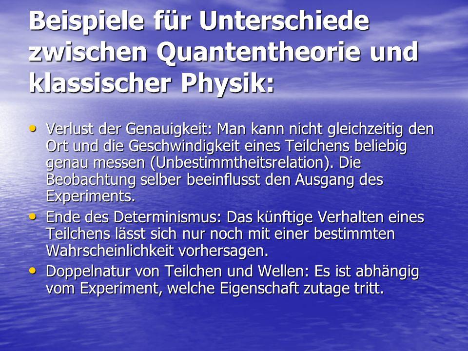 Beispiele für Unterschiede zwischen Quantentheorie und klassischer Physik: Verlust der Genauigkeit: Man kann nicht gleichzeitig den Ort und die Geschw