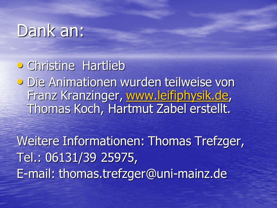 Dank an: Christine Hartlieb Christine Hartlieb Die Animationen wurden teilweise von Franz Kranzinger, www.leifiphysik.de, Thomas Koch, Hartmut Zabel e