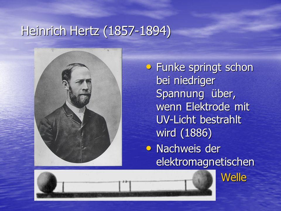 Heinrich Hertz (1857-1894) Heinrich Hertz (1857-1894) Funke springt schon bei niedriger Spannung über, wenn Elektrode mit UV-Licht bestrahlt wird (188