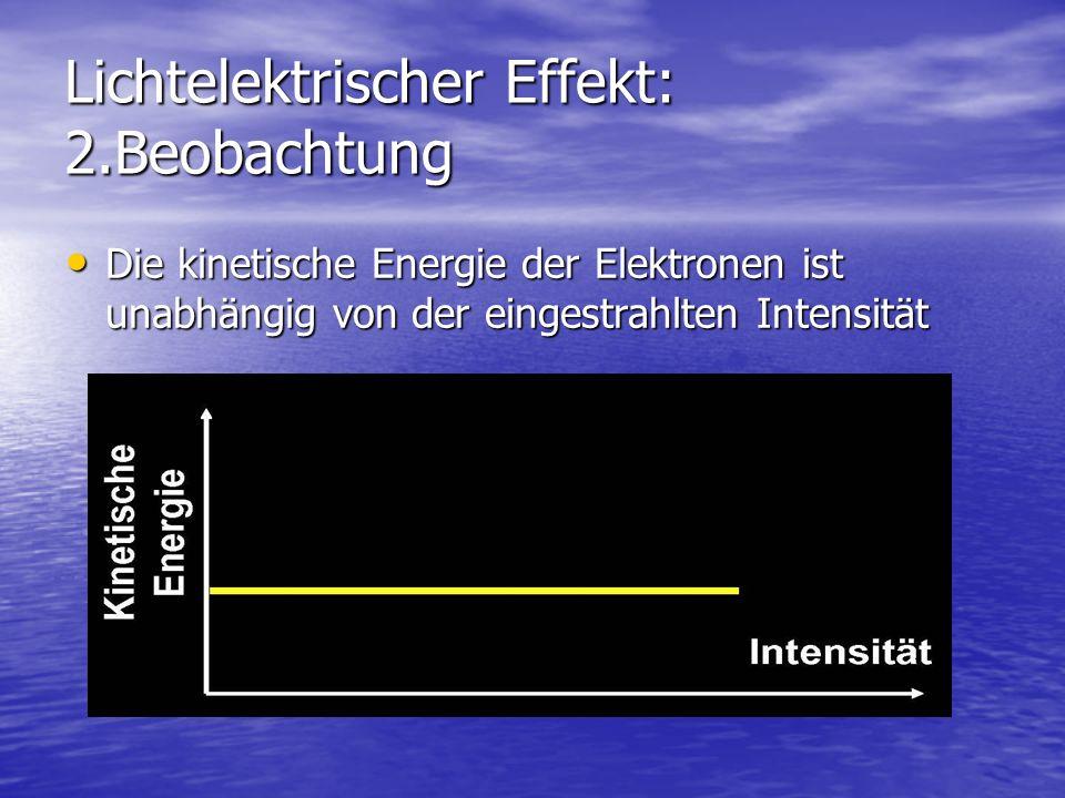 Lichtelektrischer Effekt: 2.Beobachtung Die kinetische Energie der Elektronen ist unabhängig von der eingestrahlten Intensität Die kinetische Energie