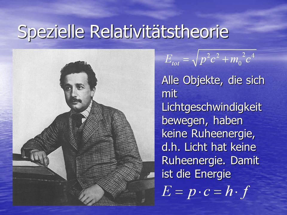 Spezielle Relativitätstheorie Alle Objekte, die sich mit Lichtgeschwindigkeit bewegen, haben keine Ruheenergie, d.h. Licht hat keine Ruheenergie. Dami