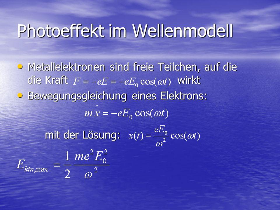 Photoeffekt im Wellenmodell Metallelektronen sind freie Teilchen, auf die die Kraft wirkt Metallelektronen sind freie Teilchen, auf die die Kraft wirk