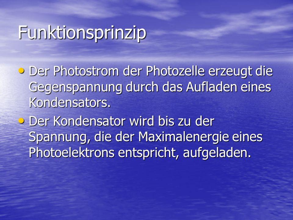 Funktionsprinzip Der Photostrom der Photozelle erzeugt die Gegenspannung durch das Aufladen eines Kondensators. Der Photostrom der Photozelle erzeugt