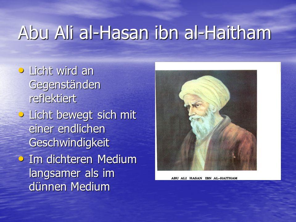 Abu Ali al-Hasan ibn al-Haitham Licht wird an Gegenständen reflektiert Licht wird an Gegenständen reflektiert Licht bewegt sich mit einer endlichen Ge