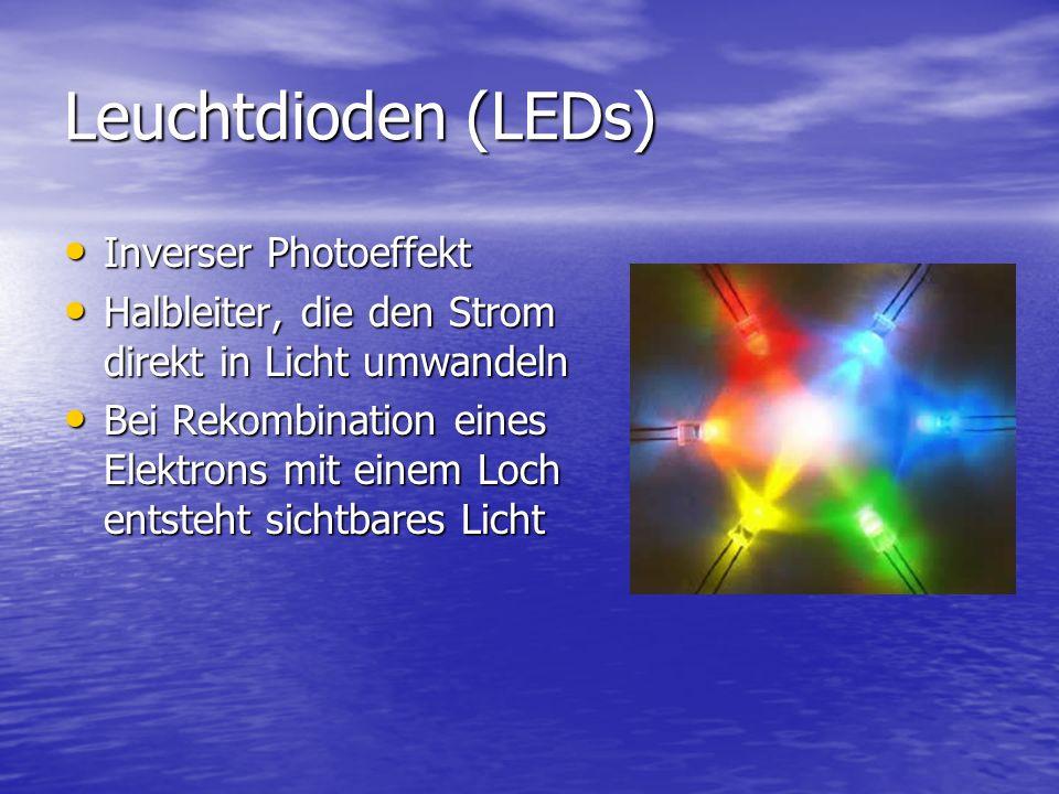 Leuchtdioden (LEDs) Inverser Photoeffekt Inverser Photoeffekt Halbleiter, die den Strom direkt in Licht umwandeln Halbleiter, die den Strom direkt in