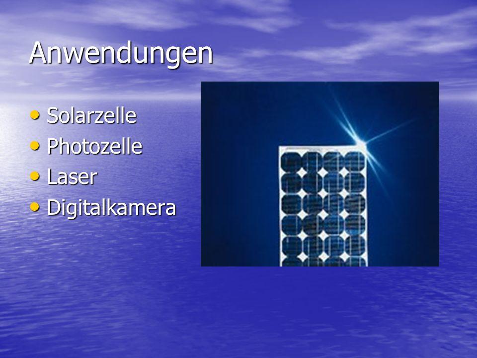Anwendungen Solarzelle Solarzelle Photozelle Photozelle Laser Laser Digitalkamera Digitalkamera