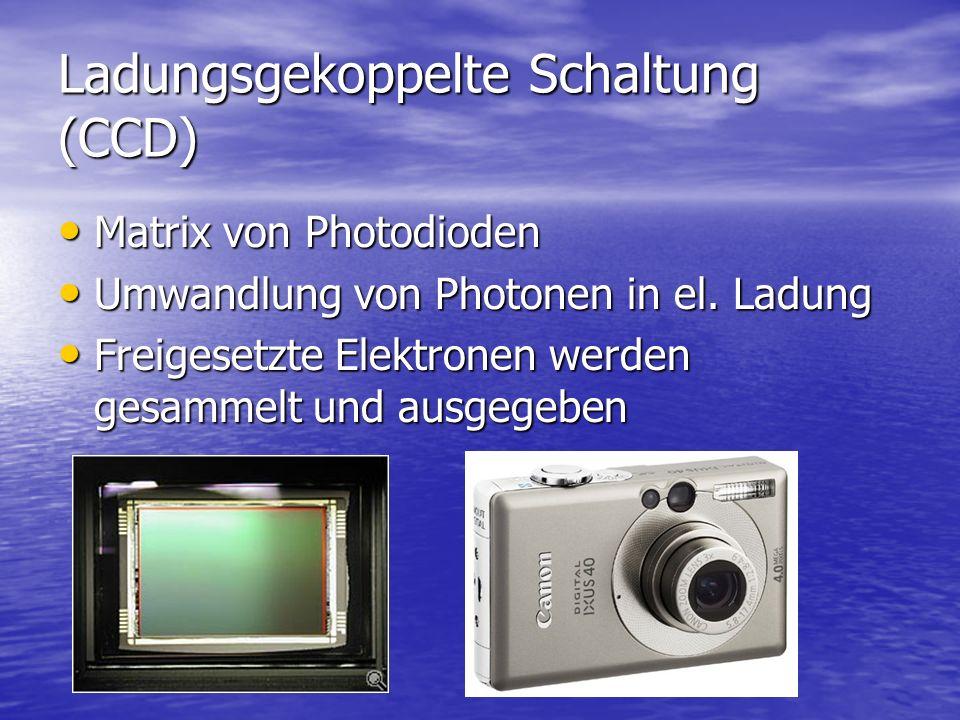 Ladungsgekoppelte Schaltung (CCD) Matrix von Photodioden Matrix von Photodioden Umwandlung von Photonen in el. Ladung Umwandlung von Photonen in el. L