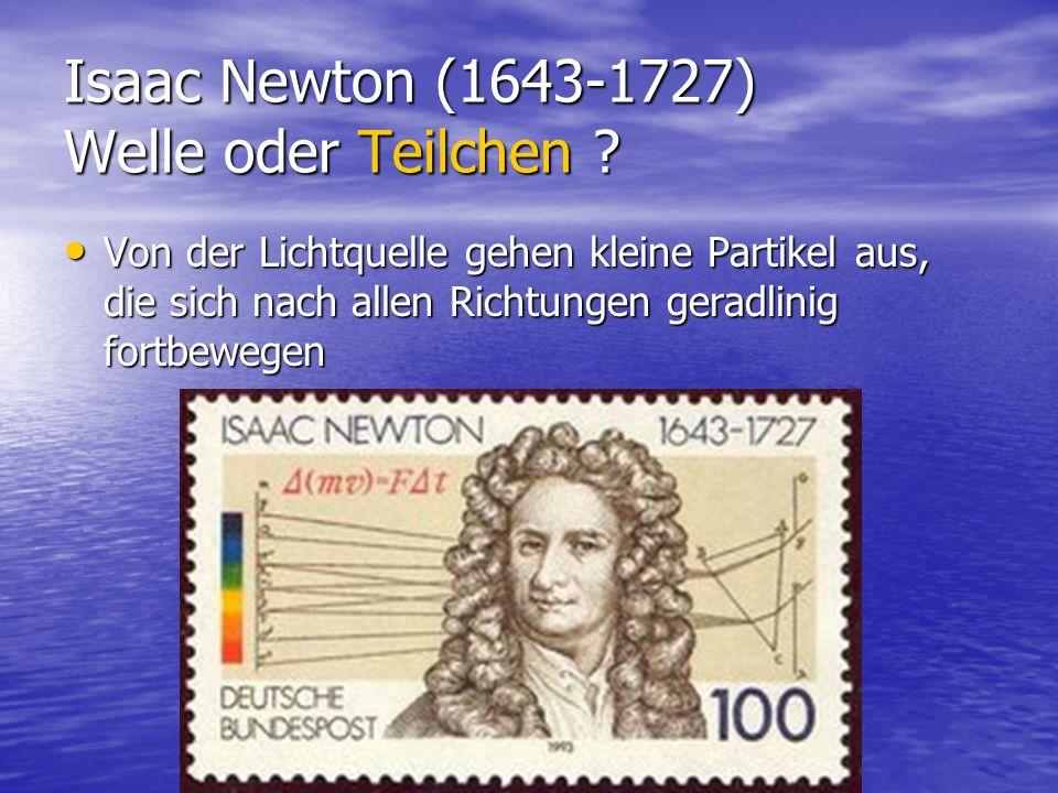 Isaac Newton (1643-1727) Welle oder Teilchen ? Von der Lichtquelle gehen kleine Partikel aus, die sich nach allen Richtungen geradlinig fortbewegen Vo