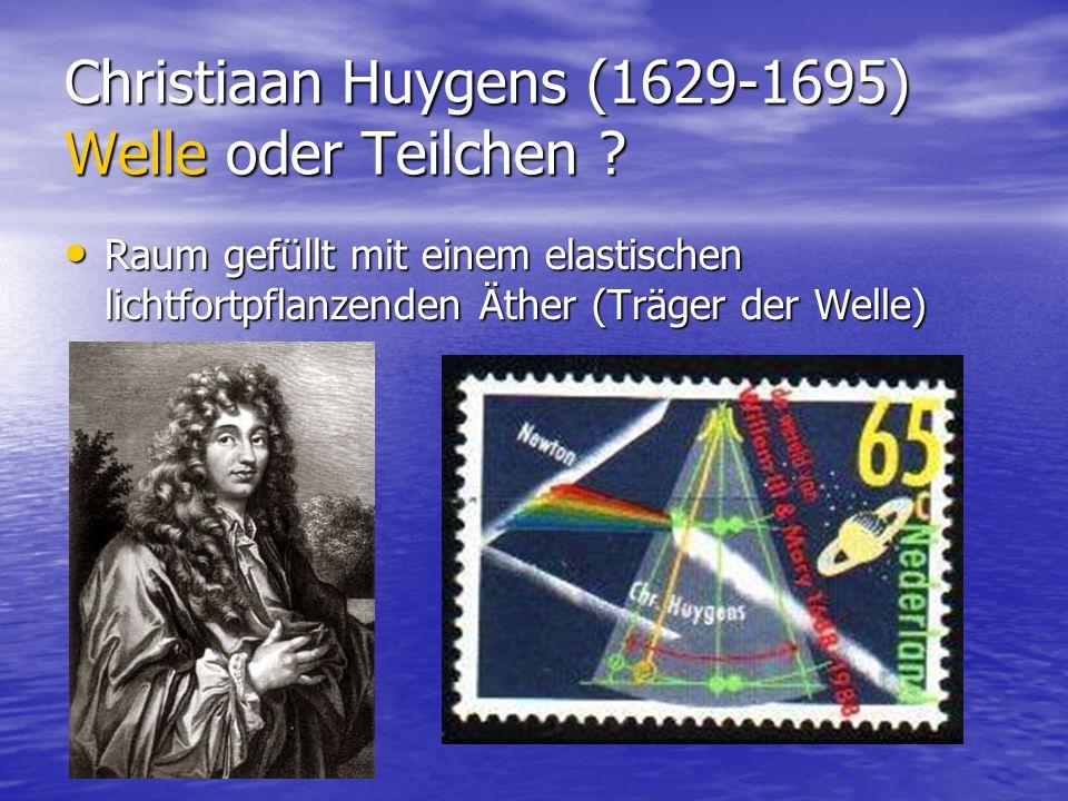 Christiaan Huygens (1629-1695) Welle oder Teilchen ? Raum gefüllt mit einem elastischen lichtfortpflanzenden Äther (Träger der Welle) Raum gefüllt mit