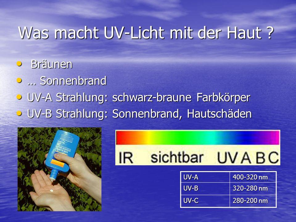 Was macht UV-Licht mit der Haut ? Bräunen Bräunen … Sonnenbrand … Sonnenbrand UV-A Strahlung: schwarz-braune Farbkörper UV-A Strahlung: schwarz-braune