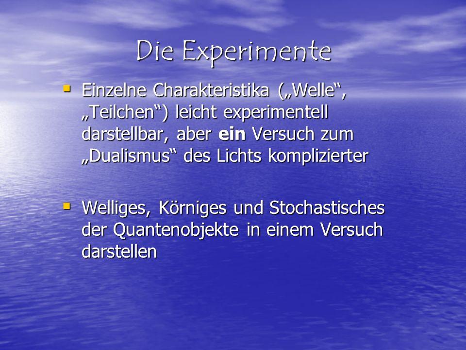 Die Experimente Einzelne Charakteristika (Welle, Teilchen) leicht experimentell darstellbar, aber ein Versuch zum Dualismus des Lichts komplizierter E