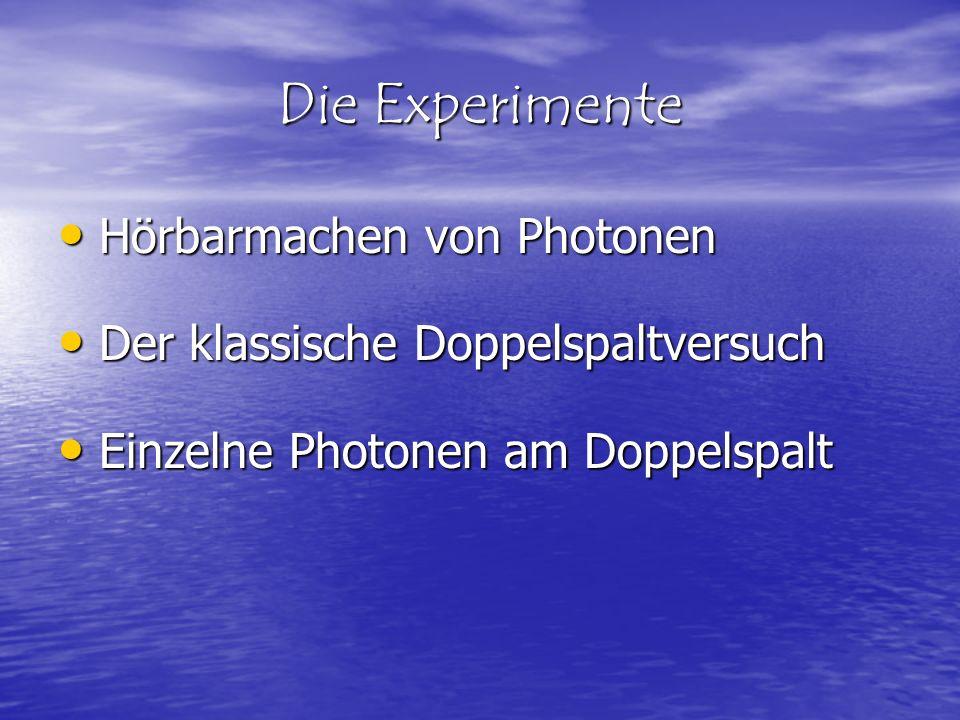 Die Experimente Hörbarmachen von Photonen Hörbarmachen von Photonen Der klassische Doppelspaltversuch Der klassische Doppelspaltversuch Einzelne Photo