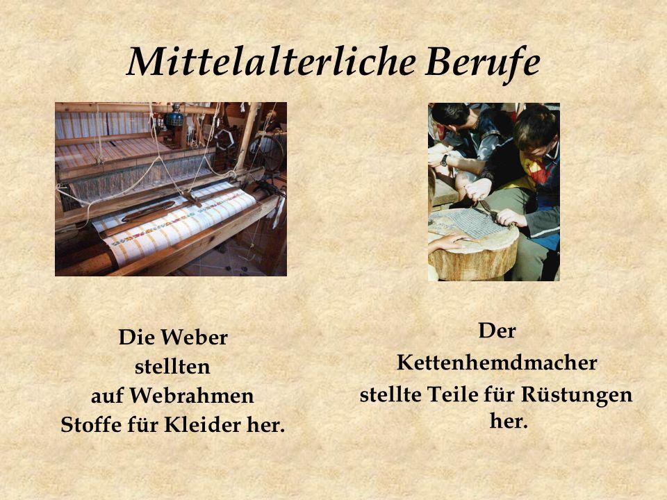 Die Weber stellten auf Webrahmen Stoffe für Kleider her.
