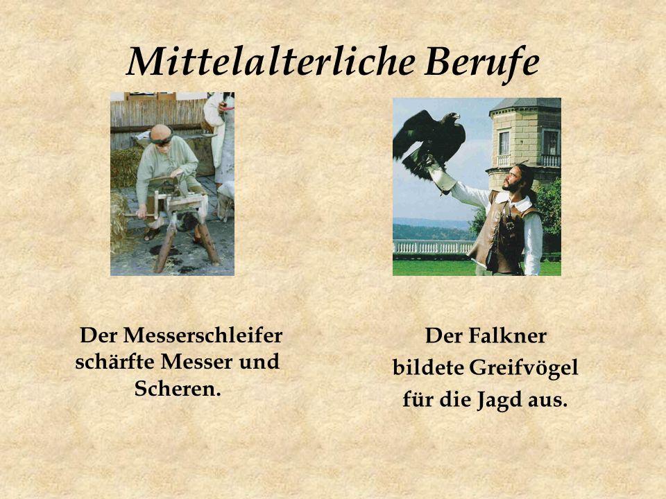 Mittelalterliche Berufe Der Messerschleifer schärfte Messer und Scheren.