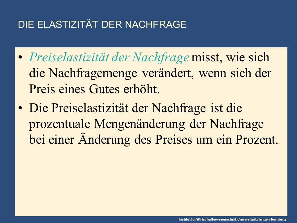 Institut für Wirtschaftswissenschaft. Universität Erlangen-Nürnberg DIE ELASTIZITÄT DER NACHFRAGE Preiselastizität der Nachfrage misst, wie sich die N