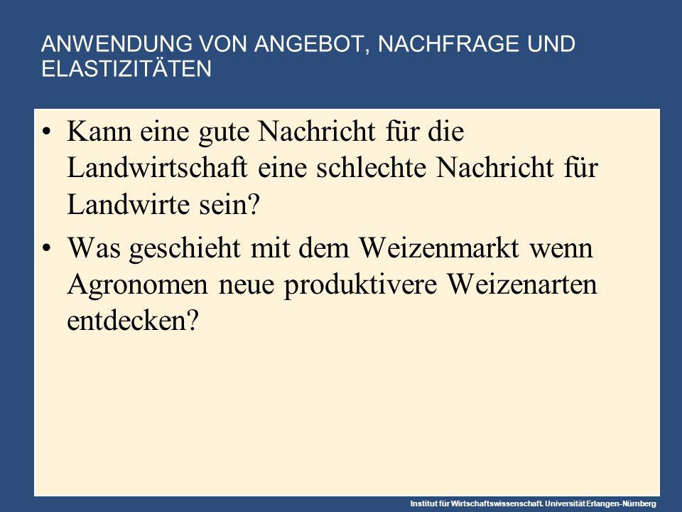 Institut für Wirtschaftswissenschaft. Universität Erlangen-Nürnberg ANWENDUNG VON ANGEBOT, NACHFRAGE UND ELASTIZITÄTEN Kann eine gute Nachricht für di