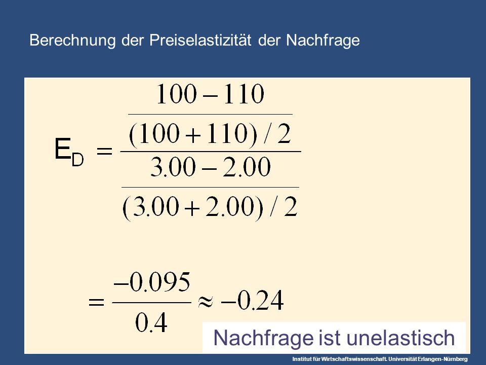 Institut für Wirtschaftswissenschaft. Universität Erlangen-Nürnberg Berechnung der Preiselastizität der Nachfrage Nachfrage ist unelastisch