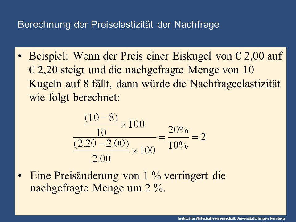 Institut für Wirtschaftswissenschaft. Universität Erlangen-Nürnberg Beispiel: Wenn der Preis einer Eiskugel von 2,00 auf 2,20 steigt und die nachgefra