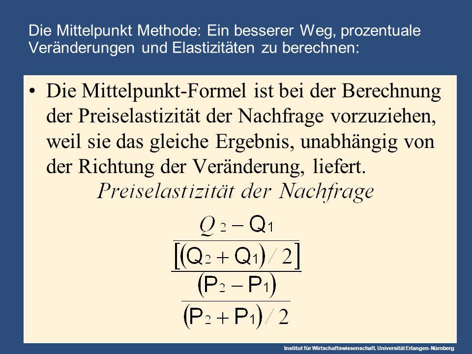 Institut für Wirtschaftswissenschaft. Universität Erlangen-Nürnberg Die Mittelpunkt Methode: Ein besserer Weg, prozentuale Veränderungen und Elastizit