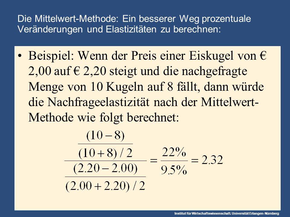 Institut für Wirtschaftswissenschaft. Universität Erlangen-Nürnberg Die Mittelwert-Methode: Ein besserer Weg prozentuale Veränderungen und Elastizität