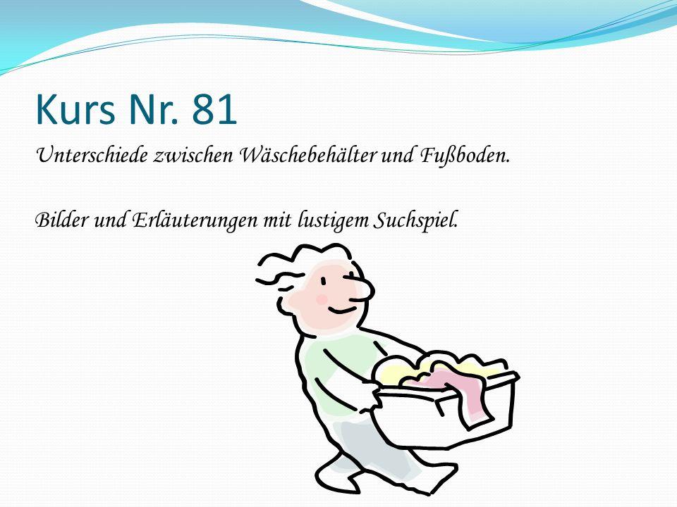 Kurs Nr. 81 Unterschiede zwischen Wäschebehälter und Fußboden. Bilder und Erläuterungen mit lustigem Suchspiel.