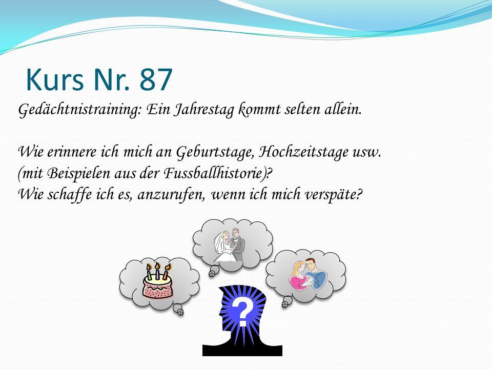 Kurs Nr. 87 Gedächtnistraining: Ein Jahrestag kommt selten allein. Wie erinnere ich mich an Geburtstage, Hochzeitstage usw. (mit Beispielen aus der Fu