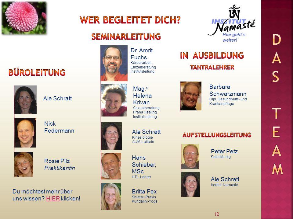 12 Ale Schratt Dr. Amrit Fuchs Körperarbeit, Einzelberatung Institutsleitung Nick Federmann Mag.
