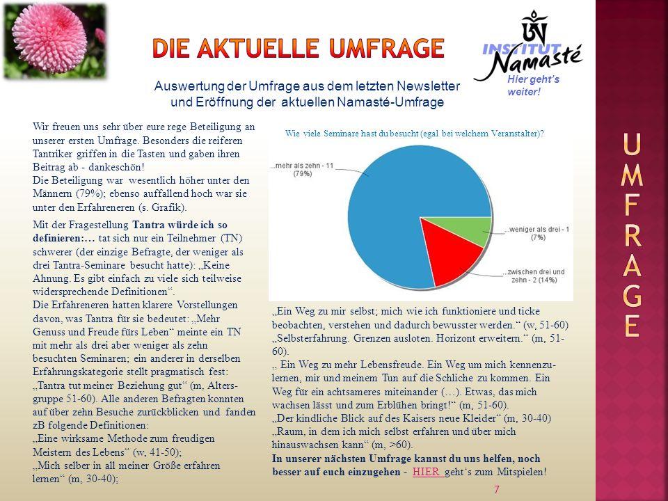 7 Auswertung der Umfrage aus dem letzten Newsletter und Eröffnung der aktuellen Namasté-Umfrage Wir freuen uns sehr über eure rege Beteiligung an unse