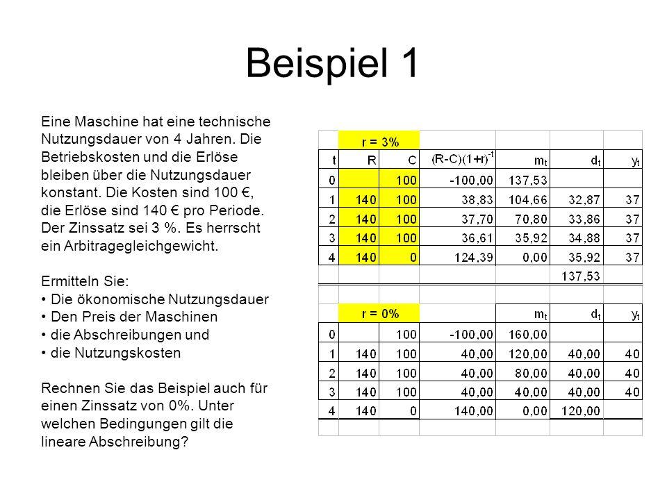 Beispiel 1 Eine Maschine hat eine technische Nutzungsdauer von 4 Jahren. Die Betriebskosten und die Erlöse bleiben über die Nutzungsdauer konstant. Di