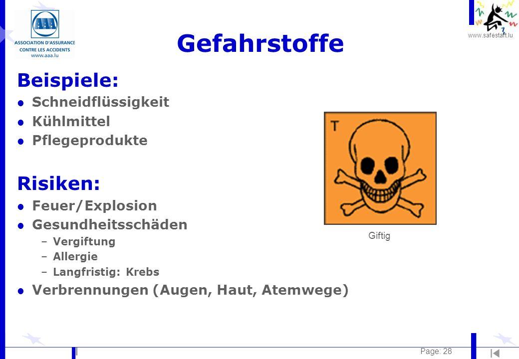 www.safestart.lu Page: 28 Gefahrstoffe Beispiele: l Schneidflüssigkeit l Kühlmittel l Pflegeprodukte Risiken: l Feuer/Explosion l Gesundheitsschäden –