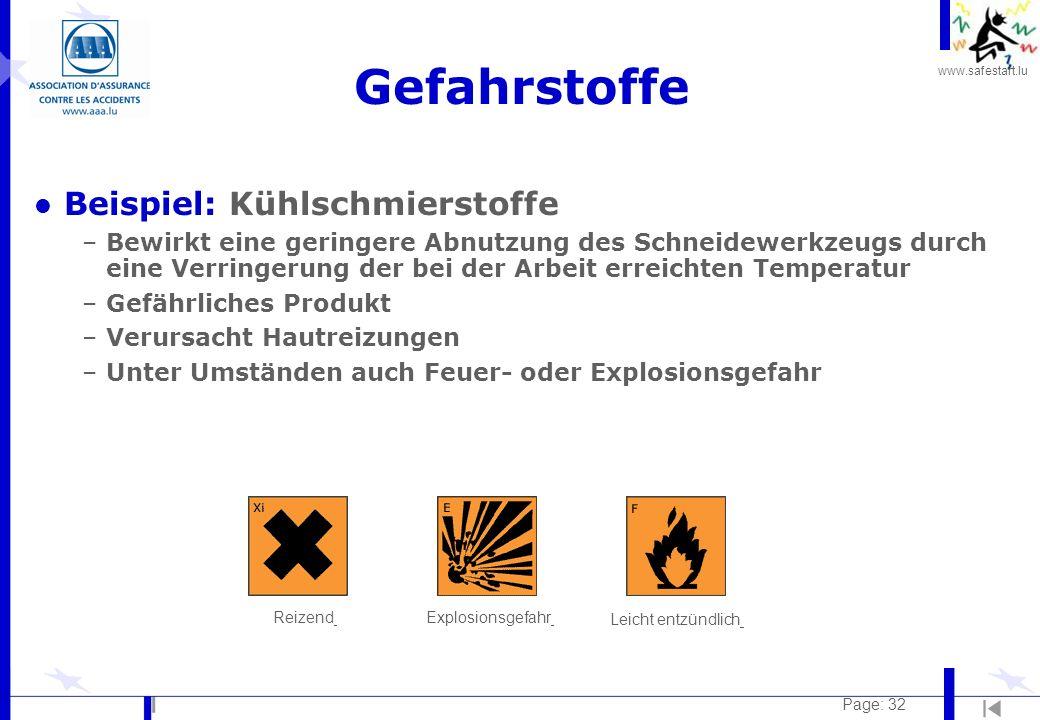 www.safestart.lu Page: 32 Gefahrstoffe l Beispiel: Kühlschmierstoffe –Bewirkt eine geringere Abnutzung des Schneidewerkzeugs durch eine Verringerung d