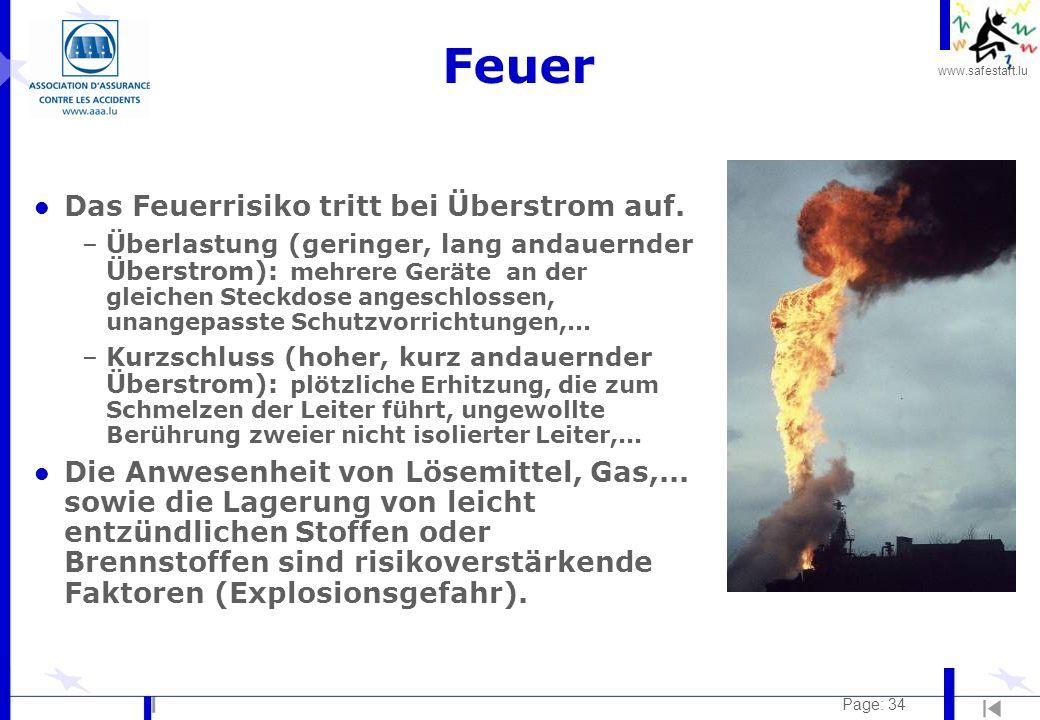 www.safestart.lu Page: 34 Feuer l Das Feuerrisiko tritt bei Überstrom auf. –Überlastung (geringer, lang andauernder Überstrom): mehrere Geräte an der