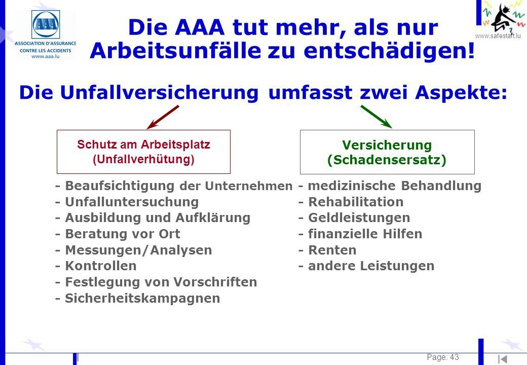 www.safestart.lu Page: 43 - Beaufsichtigung der Unternehmen - medizinische Behandlung - Unfalluntersuchung - Rehabilitation - Ausbildung und Aufklärun