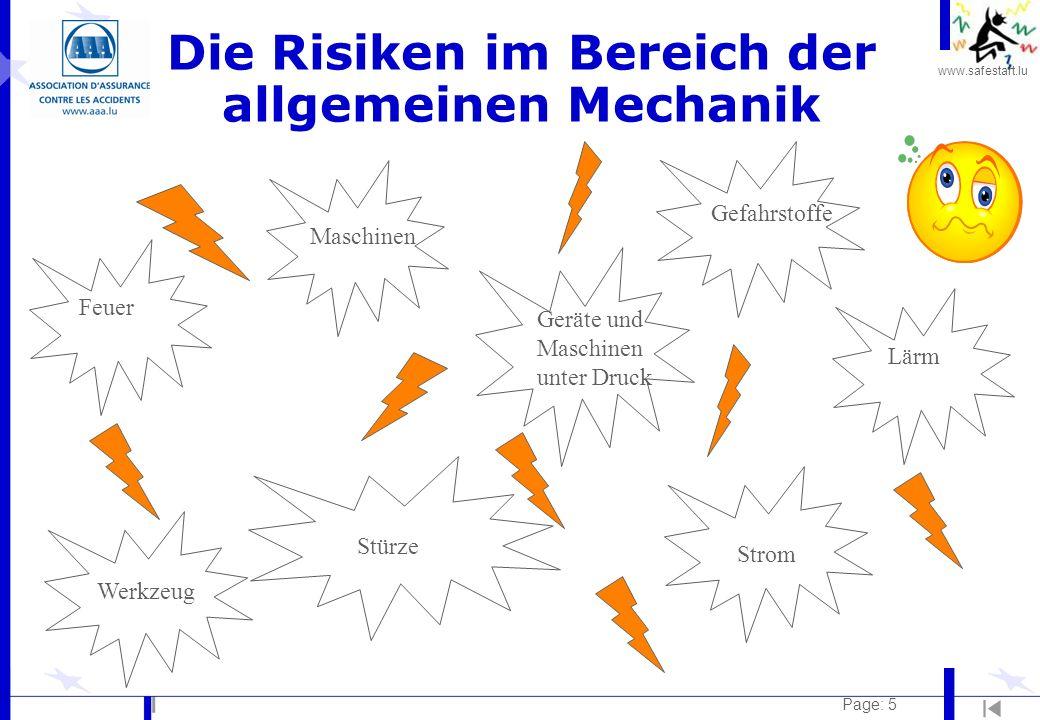 www.safestart.lu Page: 5 Die Risiken im Bereich der allgemeinen Mechanik Feuer Maschinen Lärm Stürze Werkzeug Geräte und Maschinen unter Druck Strom Gefahrstoffe