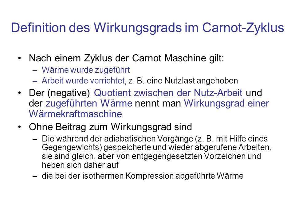Definition des Wirkungsgrads im Carnot-Zyklus Nach einem Zyklus der Carnot Maschine gilt: –Wärme wurde zugeführt –Arbeit wurde verrichtet, z.