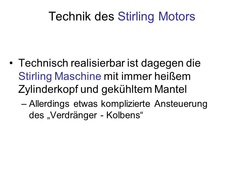 Technik des Stirling Motors Technisch realisierbar ist dagegen die Stirling Maschine mit immer heißem Zylinderkopf und gekühltem Mantel –Allerdings etwas komplizierte Ansteuerung des Verdränger - Kolbens