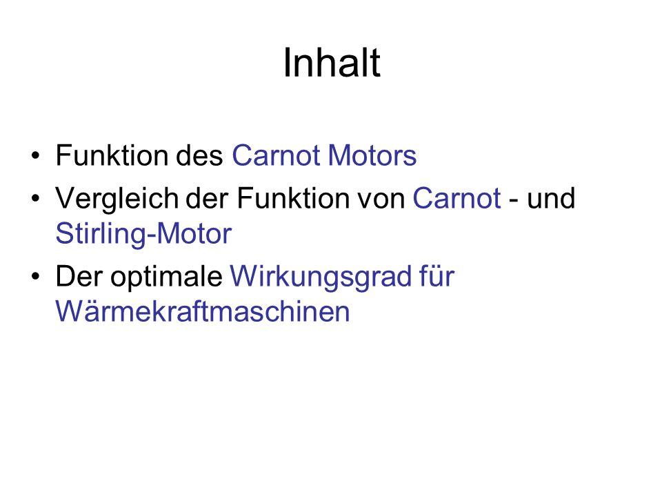 Inhalt Funktion des Carnot Motors Vergleich der Funktion von Carnot - und Stirling-Motor Der optimale Wirkungsgrad für Wärmekraftmaschinen