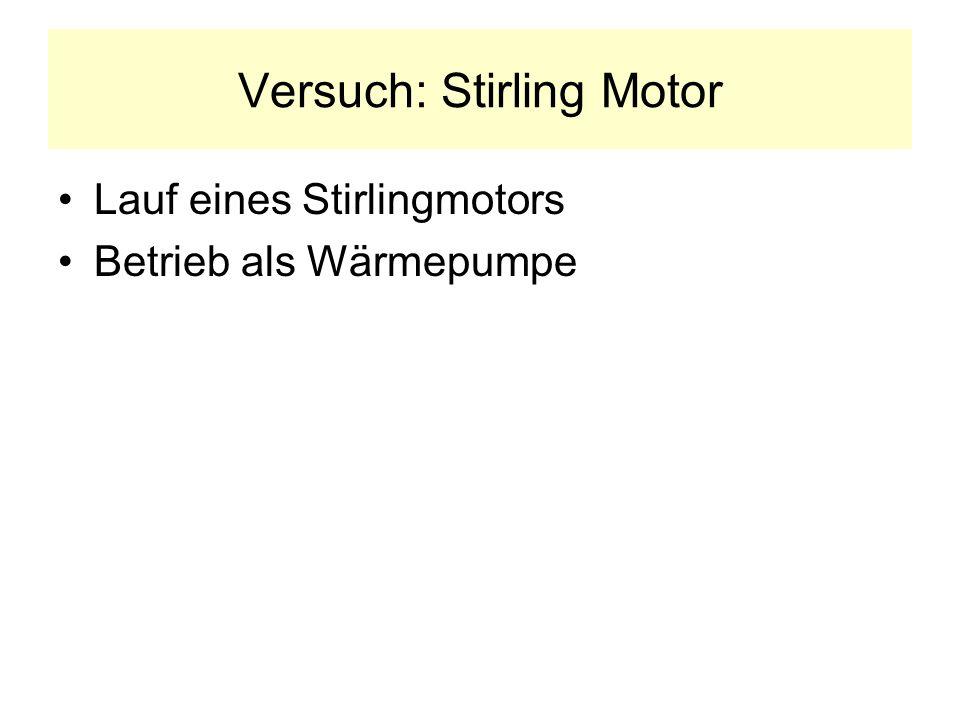 Versuch: Stirling Motor Lauf eines Stirlingmotors Betrieb als Wärmepumpe