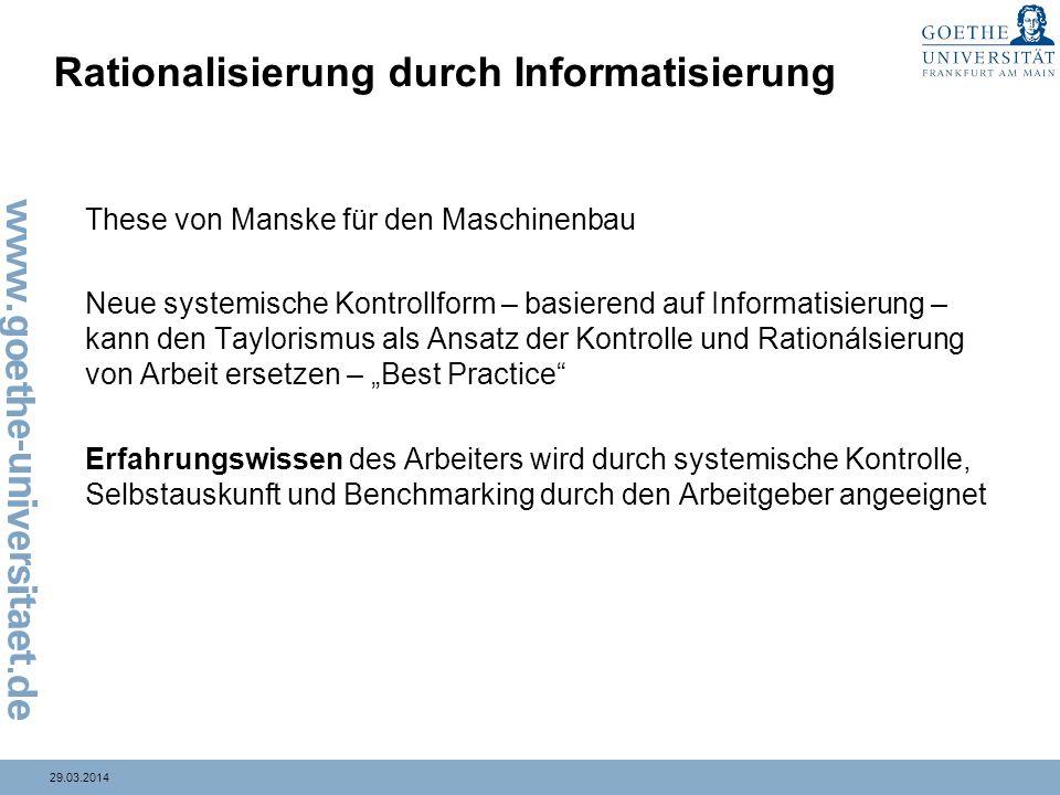 29.03.2014 Rationalisierung durch Informatisierung These von Manske für den Maschinenbau Neue systemische Kontrollform – basierend auf Informatisierun