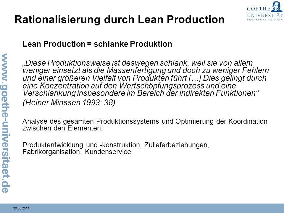 29.03.2014 Rationalisierung durch Lean Production Lean Production = schlanke Produktion Diese Produktionsweise ist deswegen schlank, weil sie von alle