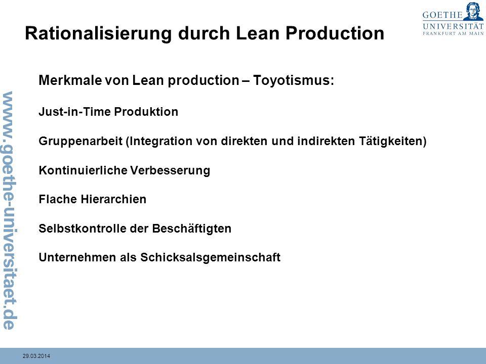 29.03.2014 Rationalisierung durch Lean Production Merkmale von Lean production – Toyotismus: Just-in-Time Produktion Gruppenarbeit (Integration von di