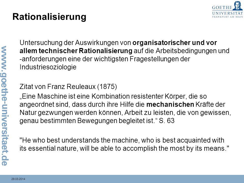 29.03.2014 Rationalisierung Untersuchung der Auswirkungen von organisatorischer und vor allem technischer Rationalisierung auf die Arbeitsbedingungen