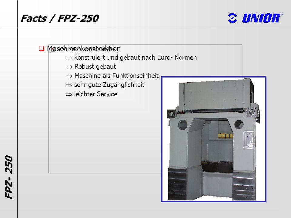 Facts / FPZ-250 Maschinenkonstruktion Konstruiert und gebaut nach Euro- Normen FPZ- 250 Robust gebaut Maschine als Funktionseinheit sehr gute Zugängli