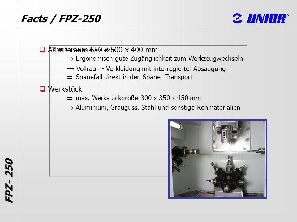 FPZ- 250 Facts / FPZ-250 Kühlung MMS- Minimalmengen Schmierung Trocken Emulsion mit einem Hochdruck von 60 bar Öl mit einem Hochdruck von 60 bar Bearbeitungsspindel max.