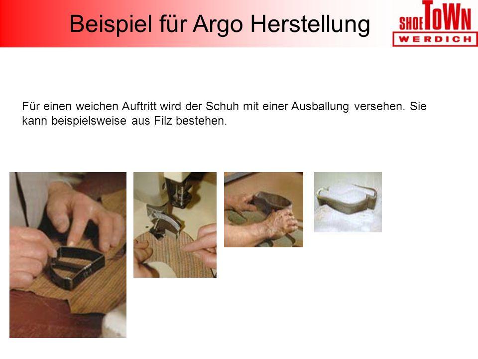 Für einen weichen Auftritt wird der Schuh mit einer Ausballung versehen. Sie kann beispielsweise aus Filz bestehen. Beispiel für Argo Herstellung