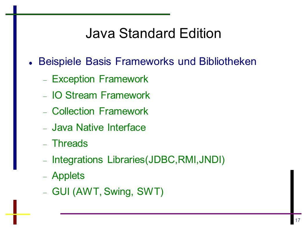 17 Java Standard Edition Beispiele Basis Frameworks und Bibliotheken Exception Framework IO Stream Framework Collection Framework Java Native Interfac