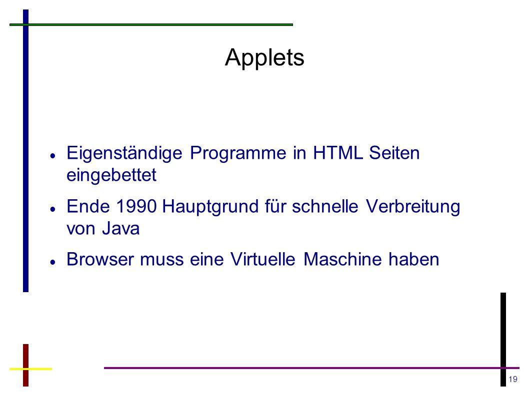 19 Applets Eigenständige Programme in HTML Seiten eingebettet Ende 1990 Hauptgrund für schnelle Verbreitung von Java Browser muss eine Virtuelle Masch