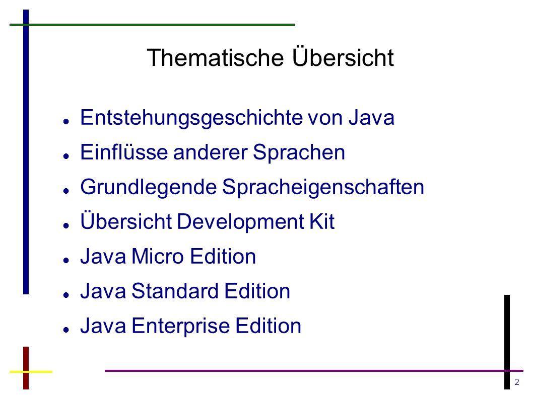 3 Entstehung von Java Startschuss 1990 bei der Firma Sun Microsystems Gründung des Green Projekt Team Leitung: Patrick Naughton, James Gosling, Mike Sheridan