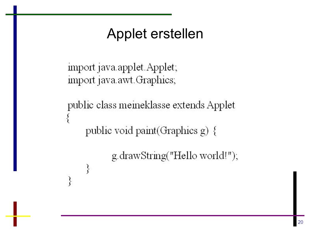 20 Applet erstellen